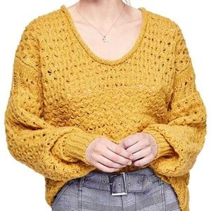 Nwt Free people mustard chunky sweater small